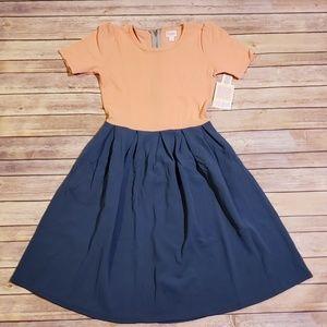 Peach & Slate Blue LuLaRoe Amelia Dress